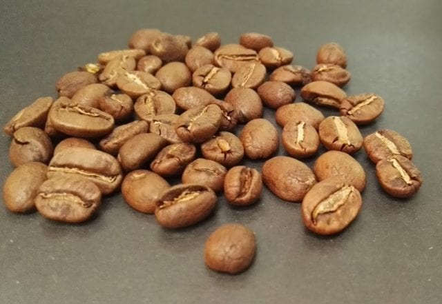 coffee beans with split appearance at the middle