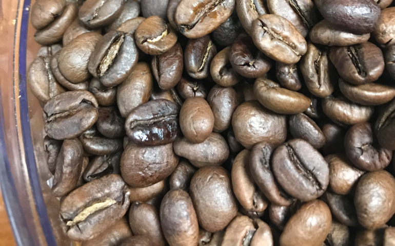 coffee beans with half scorched appearance