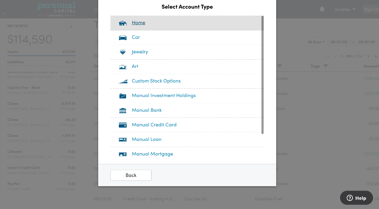 Select Home on Personal Capital