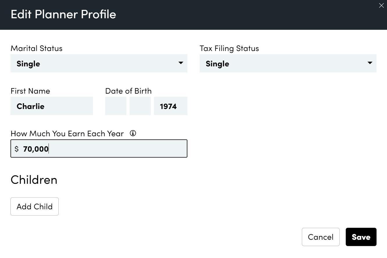 Retirement Planner Profile Personal Capital